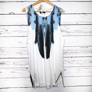 Religion We Live Black long edgy feather tank NWT
